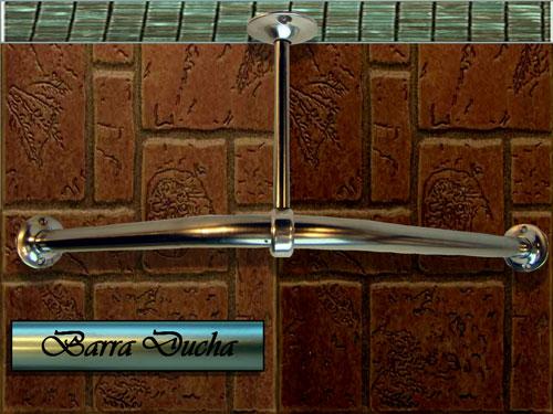 """Barra ducha en """"L"""" con dos soporte a muro y un soporte a techo"""